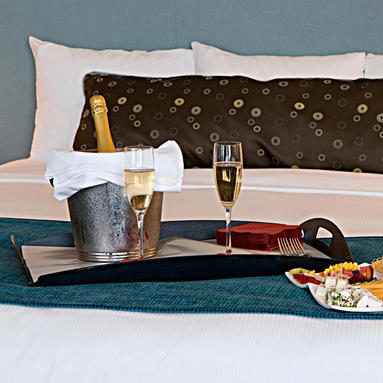 champagne on a bed