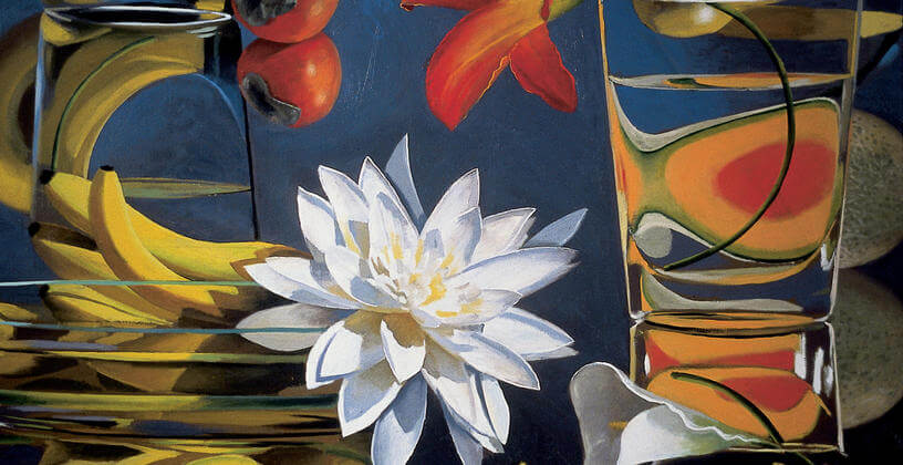 large painting with a flower and bananas