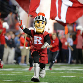 scarlet knight mascot on football field