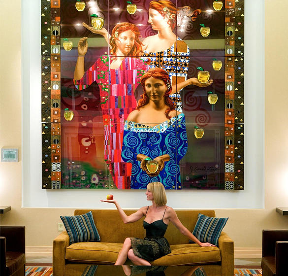 Woman sitting in the lobby of The Heldrich