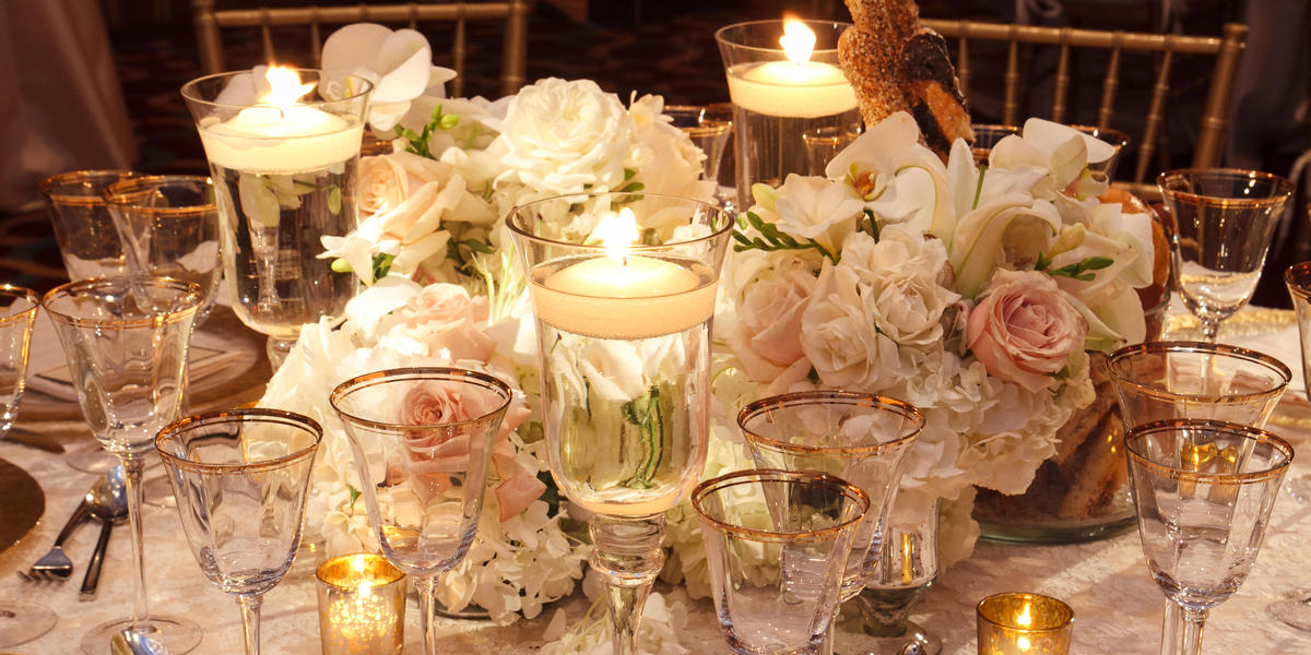 Table decorated elegantly for a wedding